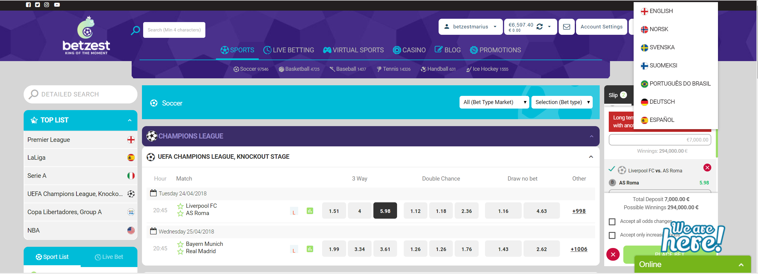 Betzest odds Real madrid vs Bayern