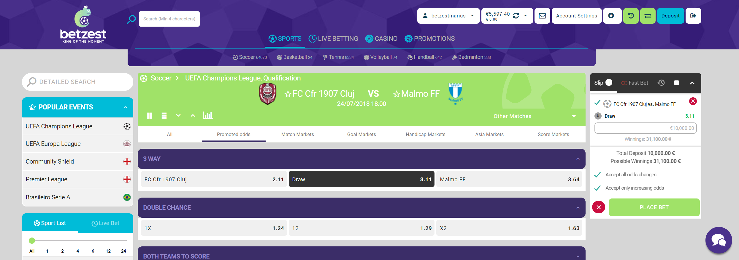 Champions League ✅ Betzest™ Get $/€5 no deposit, No wagering