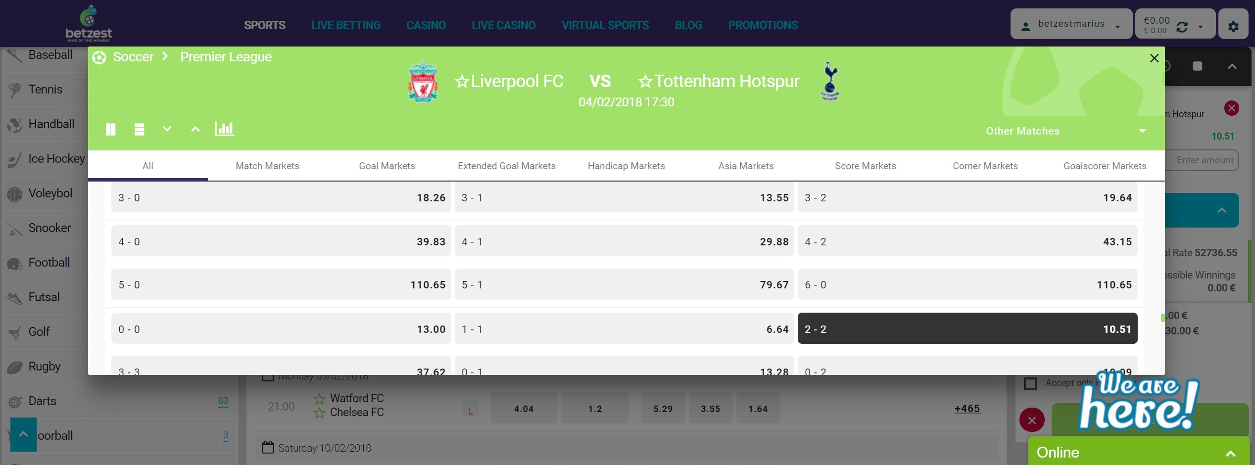 Liverpool vs Tottenham Betzest odds