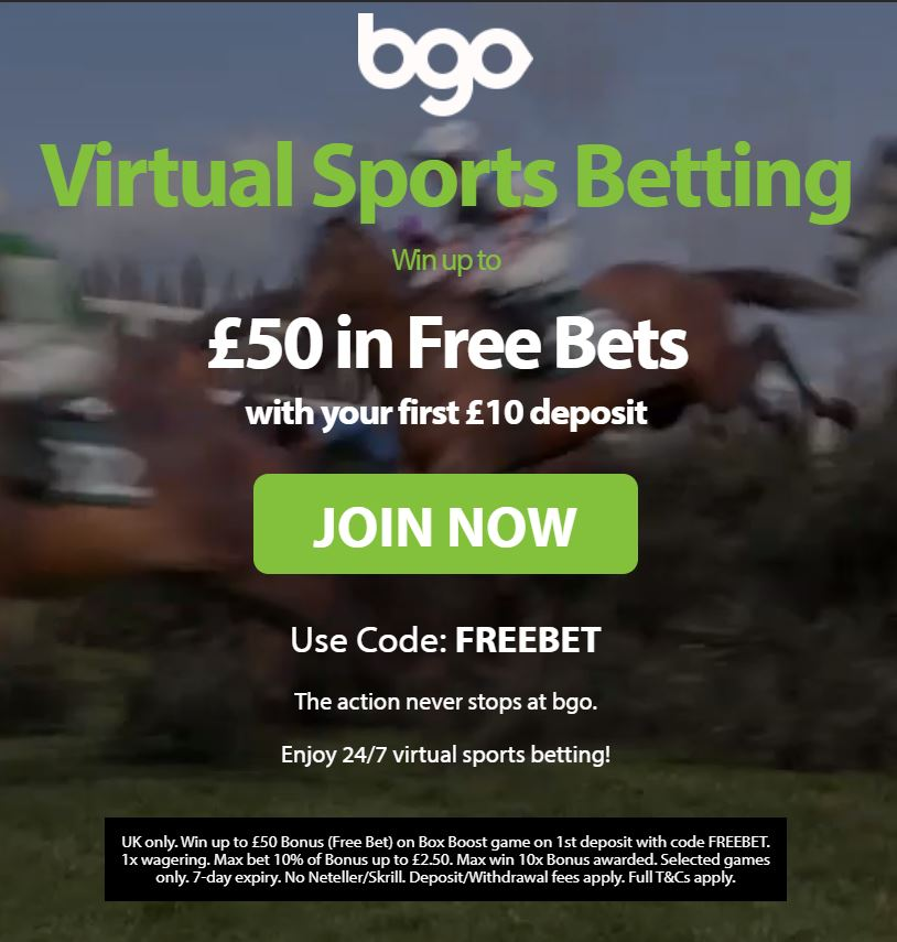 BGO Virtual sports £50 free bet